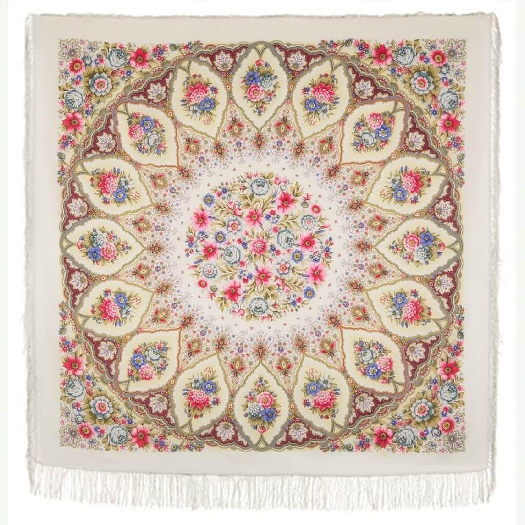 Платок «Снежинки и цветы» 1676-4
