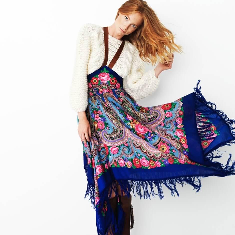 Павловопосадские платки: завязываем красиво, носим стильно